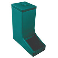 Table Top Dispense Bin With Clear Flap And Top Lid Allowing It To Be Filled From The Top Green