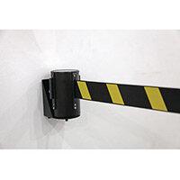 Wall Mounted Belt Barrier Black/Yellow 2.3 Metre