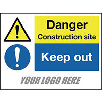 Sign Danger Construction Site Keep Out 600X400mm 4mm Correx