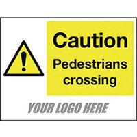 Sign Caution Pedestrians Crossing 400X300mm 4mm Correx