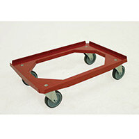 Plastic Dolly 620x420mm C/W Rubber Tyred Castors C/W Rubber Tyred Castors Red