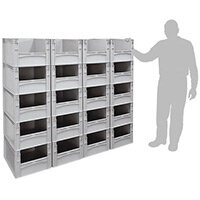 Basicline 600X400X220mm Open End Euro Container