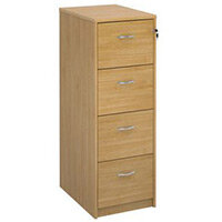 Deluxe Executive 4 Drawer Filing Cabinet In Oak Anti Tilt Fully Locking Supplied With Handles Accepts Foolscap Onl