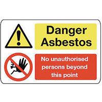 Sign Danger Asbestos 600X200 Vinyl Asbestos Acm'S - Danger Asbestos No Unauthorised Persons Beyond This Point