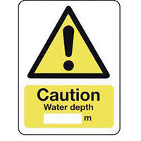 Sign Caution Water Depth 250X300 Vinyl
