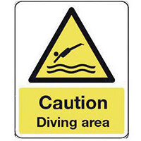 Sign Caution Diving Area 250X300 Vinyl