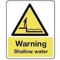 Sign Warning Shallow Water 600X200 Vinyl