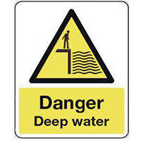Sign Danger Deep Water 300X100 Vinyl National Water Safety Sign