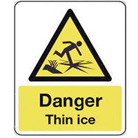 Sign Danger Thin Ice 300X100 Vinyl