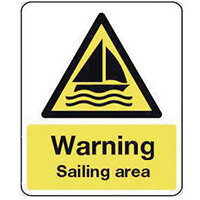 Sign Warning Sailing Area 300X100 Vinyl