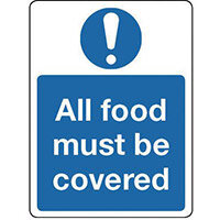 Sign All Food Must Be Covered Self-Adhesive Vinyl 300x100