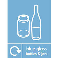 """Recycling Sign """"Blue Glass Bottles"""" Self-Adhesive Vinyl 300x400mm"""