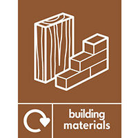 """Recycling Sign """"Building Materials"""" Self-Adhesive Vinyl 150x200mm"""