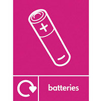 """Recycling Sign """"Batteries"""" Self-Adhesive Vinyl 300x400mm"""
