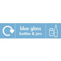 """Recycling Sign """"Blue Glass Bottles"""" Self-Adhesive Vinyl 350x100mm"""