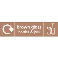 """Recycling Sign """"Brown Glass Bottles"""" Self-Adhesive Vinyl 500x200mm"""