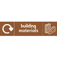 """Recycling Sign """"Building Materials"""" Self-Adhesive Vinyl 500x200mm"""