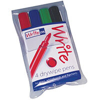 Write On Drywipe Pen With New Ink Formula Wallet Of 4 Pens