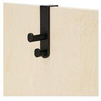 Plastic Coat Hook Over The Door Double Black (Bl) Set Of 6