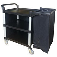 Three Tier Plastic Tray Trolley One Open Side & With Frame & Nylon Bag