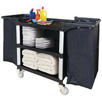 Three Tier Plastic Tray Trolley One Open Side & With 2 Frames & Nylon Bag