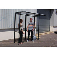 Corfe Open Fronted Smoking Shelter With Clear Roof Freestanding & Tower Bin Black HxWxD mm: 2100x3146x1074