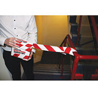 Red And White Heavy Duty Non-Adhesive Barrier Tape 250m Ref:SY401595