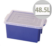 Container 48.5L Plastic In Blue With Opaque Lid