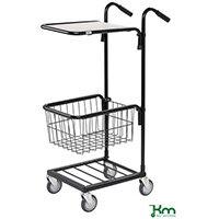 Konga Mini Mail Trolley With 1 Shelf & 1 Basket Black 35 kg Capacity - 5 Year Warranty
