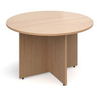 Arrow Head Leg Circular Meeting Table 1200mm Beech