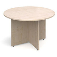 Arrow Head Leg Circular Meeting Table 1200mm Maple