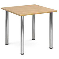 Rectangular Chrome Leg Flexi-Table Oak H:725 W:800 D:800