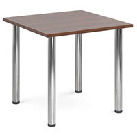 Rectangular Chrome Leg Flexi-Table Walnut H:725 W:800 D:800