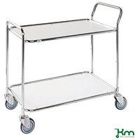 Table Trolley 2 White Shelves Galvanised Frame Galvanised Frame