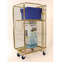 Four Sided Zinc Coated Nestable Roll Pallet With Hinged Shelf