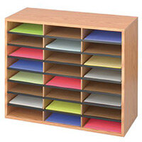 Wood / Corrugated Literature Organiser 24 Compartment Medium Oak (Mo)