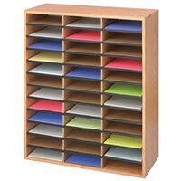 Wood / Corrugated Literature Organiser 36 Compartment Medium Oak (Mo)