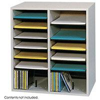 Wood Adjustable Literature Organiser 16 Compartment Grey (Gr)