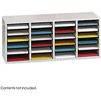 Wood Adjustable Literature Organiser 24 Compartment Grey (Gr)