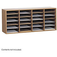 Wood Adjustable Literature Organiser 24 Compartment Medium Oak (Mo)