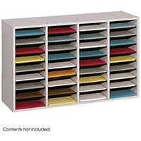 Wood Adjustable Literature Organiser 36 Compartment Grey (Gr)