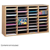 Wood Adjustable Literature Organiser 36 Compartment Medium Oak (Mo)
