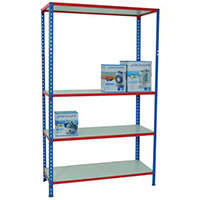 Simonclick Boltless Shelving Unit With 6 Melamine Faced Shelves HxWxD 2000x1200x300mm - 175kg Shelf Capacity, Easy To Clean Shelf Surface