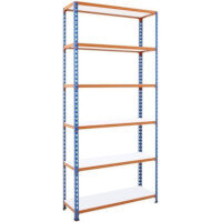 Simonclick Boltless Shelving Unit With 6 Melamine Faced Shelves HxWxD 2000x1200x500mm - 175kg Shelf Capacity, Easy To Clean Shelf Surface