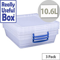 Really Useful Box Nestable Storage Box 10.6L Transparent Pack Of 3