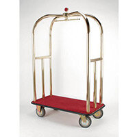 Crown Luggage Trolley Brass With Black Carpeting