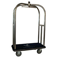 Crown Luggage Trolley Stainless Steel With Grey Carpeting