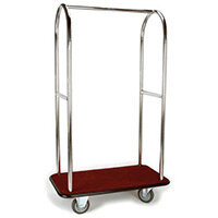 Stainless Steel Bellmans Trolley With Burgundy Carpeting