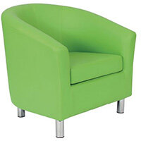 Classic Tub Chair Leather Look PU Upholstered With Metal Leg Design Lime Green