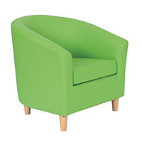 Classic Tub Chair Leather Look PU Upholstered With Wooden Leg Design Lime Green